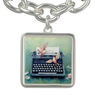 Schreibmaschinen-u. Vogel-silbernes Charme-Armband Charm Armband
