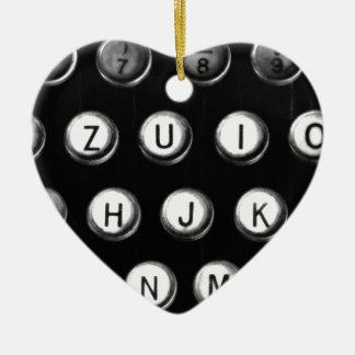 Schreibmaschinentasten Keramik Herz-Ornament