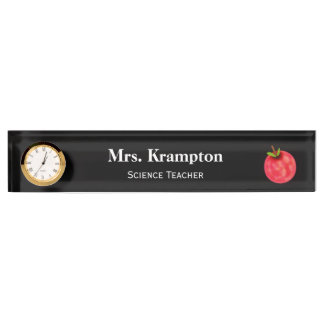 Schreibtisch-Namensschild für Lehrer mit Uhr