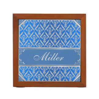 Schreibtisch-Organisator--Lilie - helles Blaues u. Stifthalter