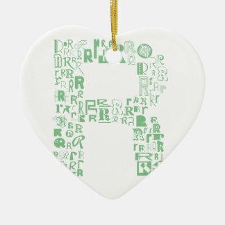 Schriftart-Mode R Keramik Herz-Ornament