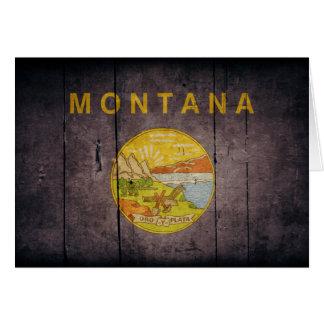 Schroffe hölzerne Montana-Flagge Karte