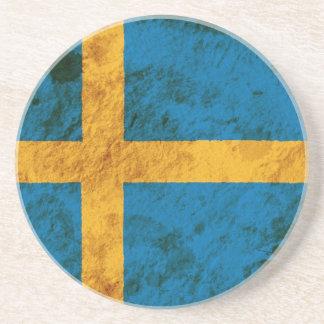Schroffe schwedische Flagge Getränkeuntersetzer