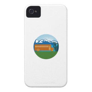 Schulbus-Vintager Kaktus-Gebirgskreis Retro iPhone 4 Case-Mate Hülle