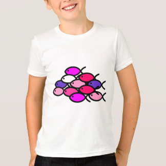 Schule der christlichen Fisch-Symbole - Rosa T-Shirt