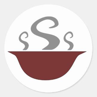 Schüssel dämpfende Suppen-Aufkleber Runder Aufkleber