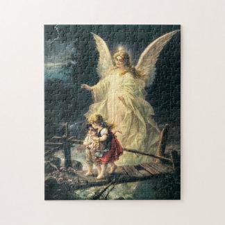 Schutzengel und zwei Kinder auf Brücke Foto Puzzle