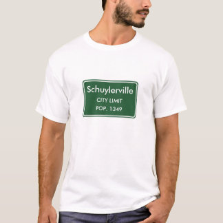 Schuylerville New York City Grenze-Zeichen T-Shirt