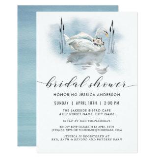 Schwan auf dem Seewatercolor-Brautparty Einladung