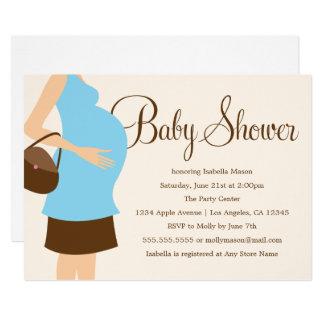 Schwangerer Bauch - blaue   Babyparty laden ein Karte