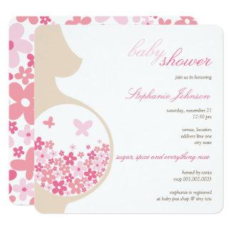 Schwangerschaft u. rosa quadratische 13,3 cm einladungskarte