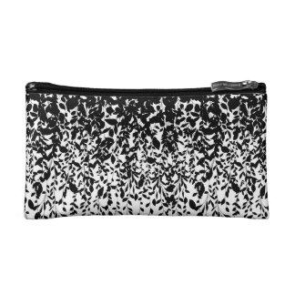Schwarz-Blätter auf weißem Hintergrund Kosmetiktasche