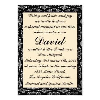 Schwarz-/Creme-Bar Mitzvah/Geburtstags-Einladung 12,7 X 17,8 Cm Einladungskarte