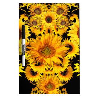 Schwarz-goldene Sonnenblume-Mustergeschenke Memoboard