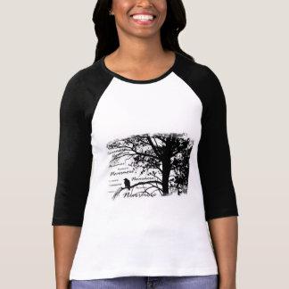 Schwarz u. Weiß Raven Nevermore Silhouette-Baum T-Shirt