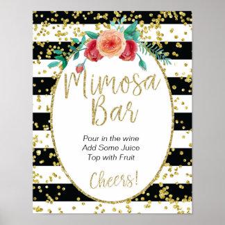 Schwarz u. Weiß Stripes Mimosen-Bar-Zeichen Poster