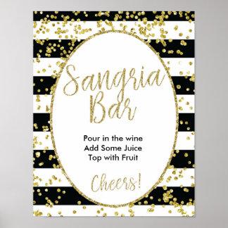Schwarz u. Weiß Stripes Sangria-Bar-Zeichen Poster