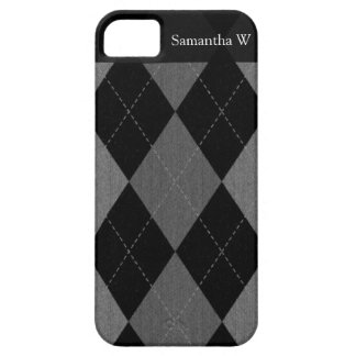 Schwarz-und Holzkohlen-Grau-Raute iPhone 5 Hüllen