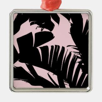 Schwarz-und Rosa-tropisches Bananen-Blätter-Muster Silbernes Ornament