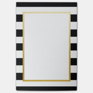 Schwarz, weiß, Striped Gold Post-Itnotizblock Post-it Klebezettel