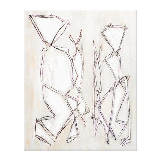 Schwarz-weiße abstrakte Kunst-Paare Lux Belkadi Leinwand Druck