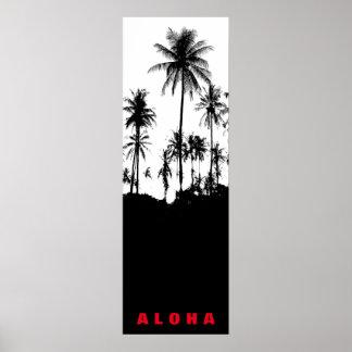 Schwarz-weiße Aloha Hawaii-Palme-Tropen-Reise Poster