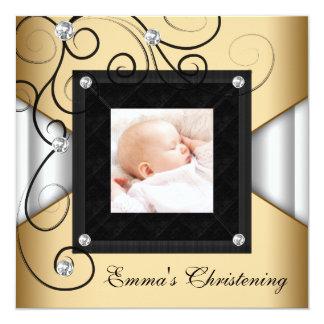 Schwarz-weiße Goldbaby-Mädchen-Foto-Taufe Quadratische 13,3 Cm Einladungskarte