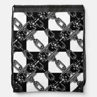 Schwarz-weiße Kettenverbindungs-Gingham Drawstring Turnbeutel