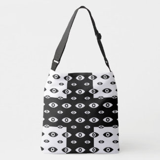 Schwarz-weiße Kreuz und Auge CrossBody Tasche