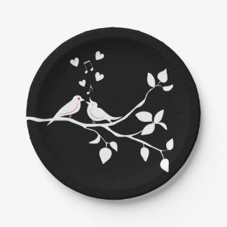 Schwarz-weiße Lovebirds, die Party-Brautparty Pappteller