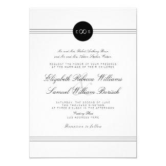 Schwarz-weiße Monogramm-Unendlichkeits-Hochzeit 12,7 X 17,8 Cm Einladungskarte