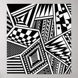Schwarz-weiße Musterhand der abstrakten Poster