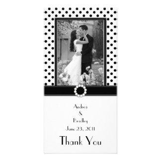 Schwarz-weiße Polka-Punkt-Hochzeits-Foto-Fotokarte Personalisierte Foto Karte