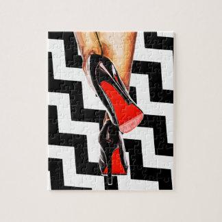 Schwarz-weiße sexy rote Unterseite beschuht Puzzle