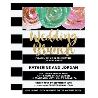 Schwarz-weiße Streifen und Goldtext-HochzeitBrunch 12,7 X 17,8 Cm Einladungskarte