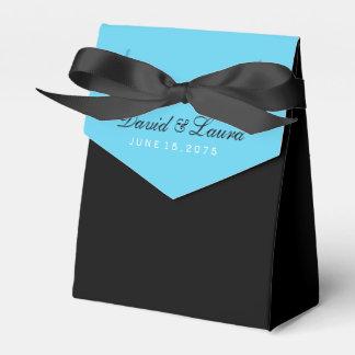 Schwarz-weiße und aquamarine blaue Hochzeit Geschenkkartons
