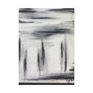 Schwarz-weiße und graue abstrakte Malerei Leinwanddruck