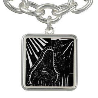 Schwarz-weißer abstrakter Nativity-religiöses Charm Armband