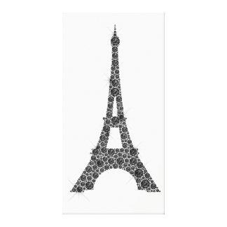 Schwarz-weißer Kristall Eiffel-Turm-Franzose-Paris Leinwanddruck