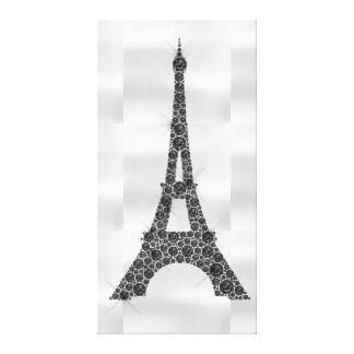 Schwarz-weißer Luxus Eiffel-Turm-Franzose-Paris Leinwanddruck