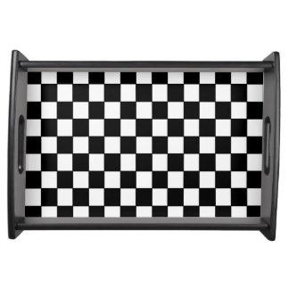 Schwarz-weißes Checkered - Serviertablett
