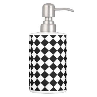 Schwarz-weißes Diamant-Schachbrett Badset