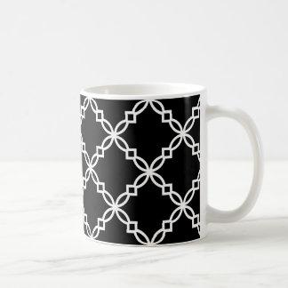 Schwarz-weißes großes extravagantes Quatrefoil Tasse