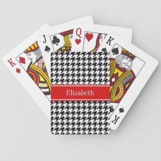 Schwarz-weißes Hahnentrittmuster-rotes Spielkarten