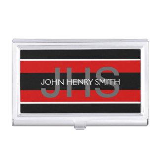 Schwarz-weißes Rot des Monogramms der Männer Visitenkarten Dose