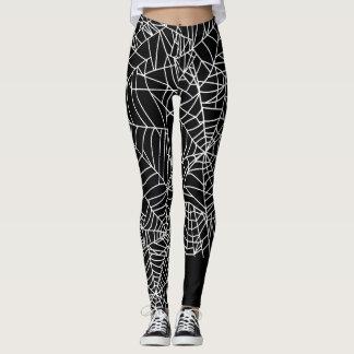 Schwarz-weißes Spinnen-Netz-Halloween-Kostüm Leggings