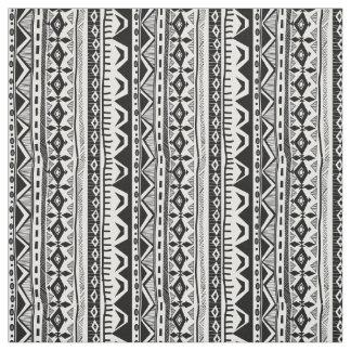 Schwarz-weißes Stammes- Streifendruck Gewebe Stoff