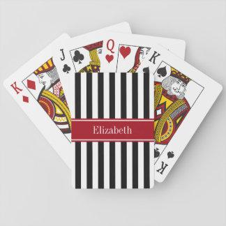 Schwarz-weißes Streifen-Moosbeernamen-Monogramm Spielkarten