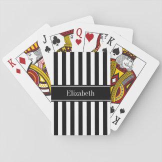 Schwarz-weißes Streifen-Schwarz-Namen-Monogramm Spielkarten