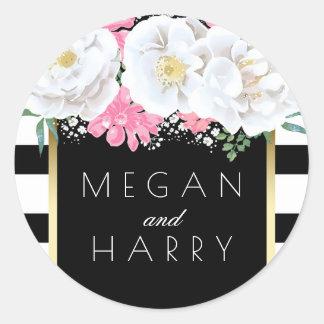 Schwarz-weißes Wedding GoldVintage mit Runder Aufkleber